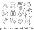 Hand drawn sketch sports fitness equipment vector doodle icons 47842654