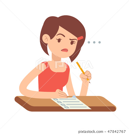 Crazy worried young woman student in panic on exam vector illustration 47842767