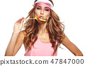 Beauty summer model girl Eating colourful lollipop. 47847000