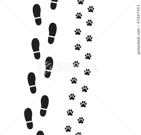 Human foot prints and dog paw prints. 47847451