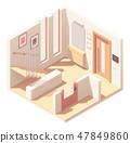 Vector isometric hallway with wooden staircase 47849860