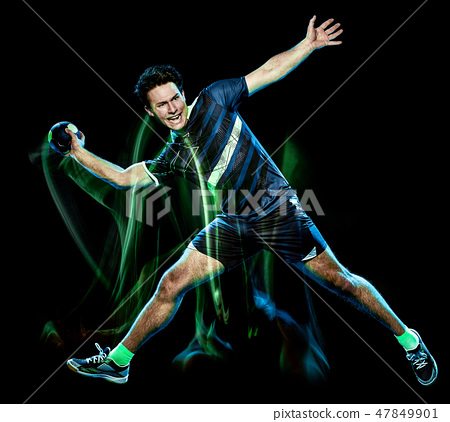 handball player young man isolated speed light painting 47849901