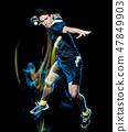 handball player young man isolated speed light painting 47849903