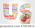 US letters with cities names word cloud 47850815