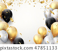 Celebration banner. Happy birthday party background with golden ribbons, confetti and balloons 47851133