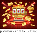 Slot machine banner. Casino gambling roulette online lottery jackpot 3D realistic gambling 47851142