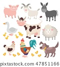 Farm animals. Pig donkey cow sheep goose rooster dog cartoon kids animal isolated set 47851166