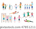 Active family. People, kids doing fitness exercises. Sports lifestyle vector flat characters 47851211