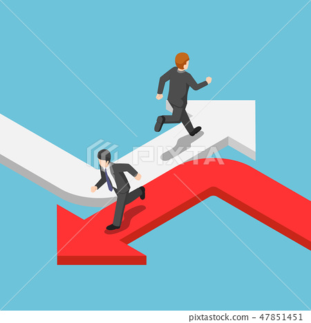 Businessman running on the different arrow 47851451