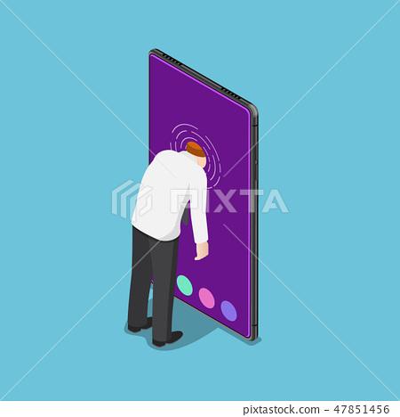 Businessman push his head into smartphone 47851456
