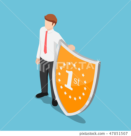 Isometric businessman standing with winner shield 47851507