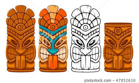 Wooden Tiki Mask Set 47852610
