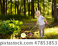 Cute little boy catches butterflies with scoop-net 47853853