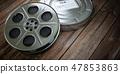 Vintage film reel with filmstrip. Video, cinema 47853863