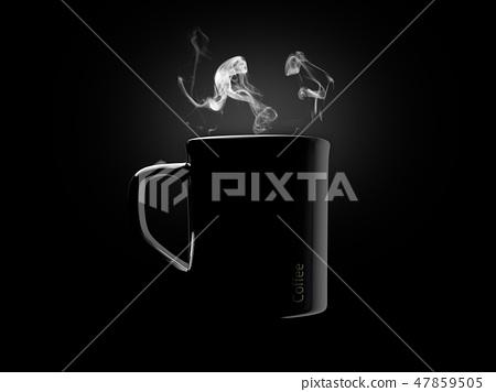 Black ceramic coffee mug. Isolated on a black. 47859505