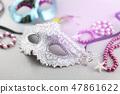 A festive,Beautiful white mardi gras carnival mask 47861622