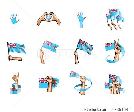 Fiji flag and hand on white background. Vector illustration 47861643
