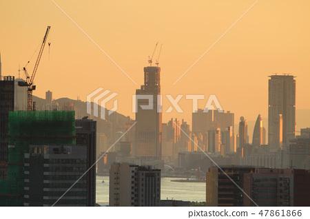 Urban downtown city at sunset, hk 47861866