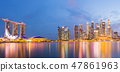 Singapore business district twilight sky cityscape 47861963