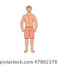 Vector muscular handsome sportsman with fit body 47862376