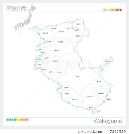 와카야마 현의지도 (시정촌 · 구분) 47862539