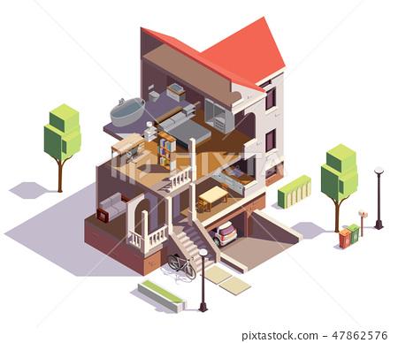 Suburbian Villa Profile Composition 47862576