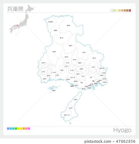 효고현의지도 (시정촌 · 구분) 47862856