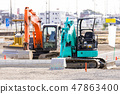 Heavy machinery at the construction site 47863400