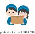 有紙板箱的工作者 47864296