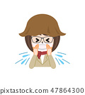 Female sneeze with hay fever 47864300