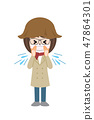 Female sneeze with hay fever 47864301