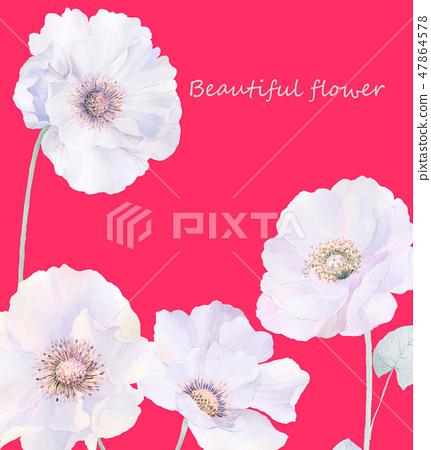 優雅的水彩玫瑰花和牡丹花 47864578