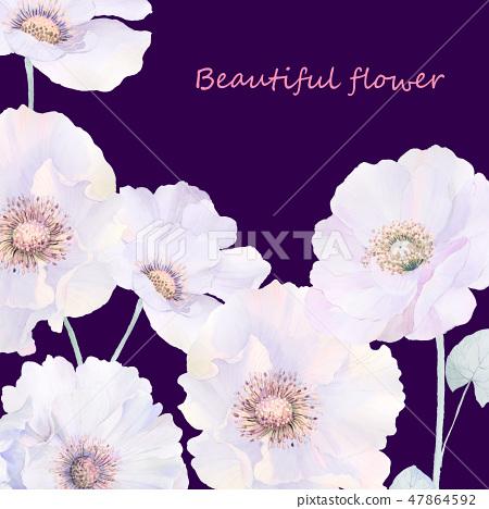 優雅的水彩玫瑰花和牡丹花 47864592