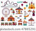 Amusement park attractions set. Carnival amuse kids carousels games fairground attraction play 47865291