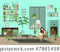 Cozy room. Vector night living room with lone reading woman and urban garden 47865408