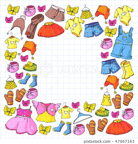 Children Clothes Background For Babies Kids Stock Illustration 47867163 Pixta