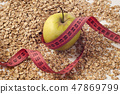 green apple, tailor meter and oatmeal 47869799
