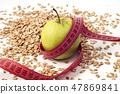 green apple, tailor meter and oatmeal 47869841