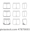 Blank clothing templates. 47870693