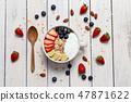 homemade Granola,yogurt and fresh blueberry  47871622