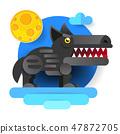 Big bad cartoon wolf. Vector clip art illustration 47872705