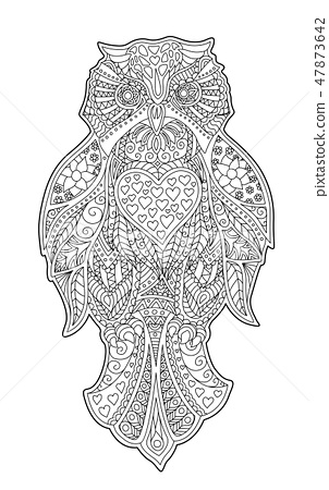 Adult coloring book page with decorative owl 47873642
