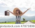 Asian woman traveling 47873898