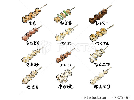 烤雞肉串烤雞肉串套餐菜單矢量 47875565