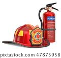 Fire extinguisher with firefighter helmet closeup 47875958