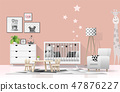 Interior background with modern baby bedroom 47876227