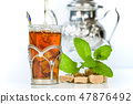 Traditional arabic mint tea in the typical glass 47876492
