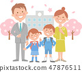 School entrance ceremony and whole cherry blossoms 47876511