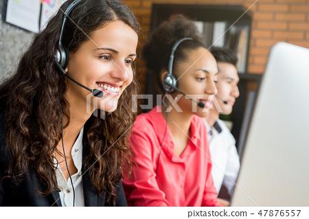 International call center team working at office 47876557