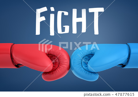 3d rendering of two fighters' hands touching boxing gloves before the fight with the 'FIGHT' title 47877615